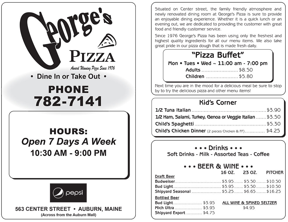 Menu Georges Pizza Auburn Me Pizza Grinders Pasta Chicken